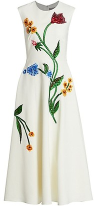 Lela Rose Embellished Garden Sleeveless Cocktail Dress