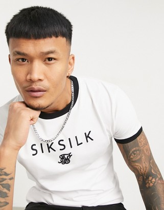 SikSilk straight hem gym t-shirt with centre logo and ringer neck in white
