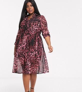 Koko Sheer Leopard Print Shirt Dress