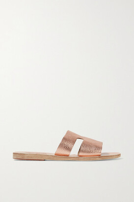 Ancient Greek Sandals Apteros Cutout Metallic Textured-leather Slides - Pink