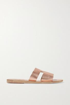 Ancient Greek Sandals Apteros Cutout Metallic Textured-leather Slides