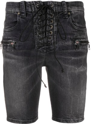 Unravel Project Laced Skinny Denim Shorts