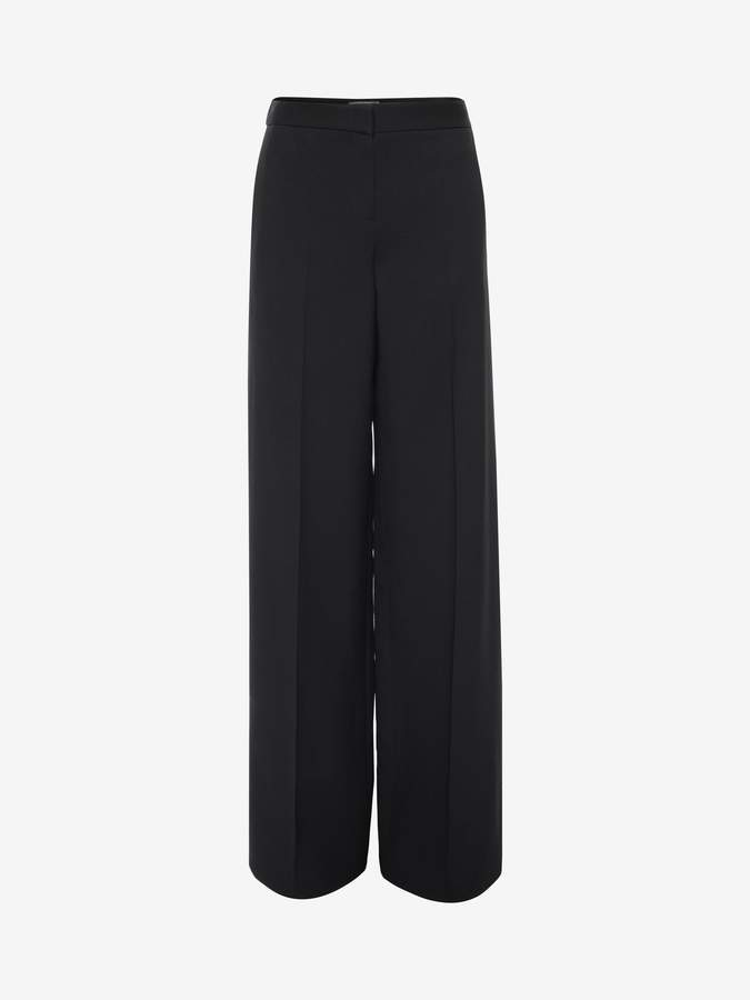 Alexander McQueen Wide Leg Tuxedo Trousers