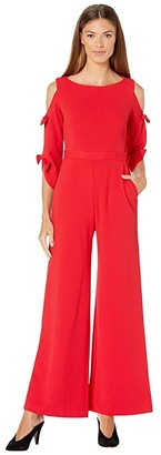 Donna Morgan Long Tie Sleeve Wide Leg Jumpsuit (Red/Red) Women's Jumpsuit & Rompers One Piece