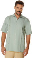 Cubavera Big & Tall Short Sleeve Texture Reverse Box Pleat & Ombre Geo Embroidered Shirt