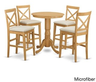 East West Furniture EDPB5-OAK Oak-finished Rubberwood 5-piece Counter-height Pub Set With Table and 4 Chairs