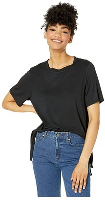 Volcom Coco Side Tie Short Sleeve Shirt (Black) Women's T Shirt