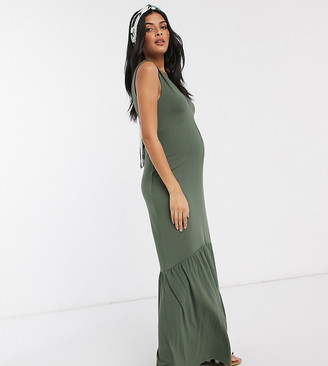 ASOS DESIGN Maternity v neck maxi dress with full pep hem in khaki
