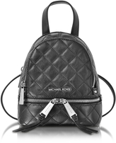 Michael Kors Rhea Zip X-Small Black Quilted Leather Messenger Backpack