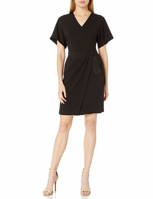 Halston Women's Faux Wrap Multi Needle Waist Dress
