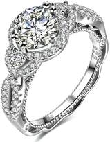 MoAndy Full CZ Cubic Zirconia Women Bridal Wedding Proposal Ring Princess Cut S925 Sterling