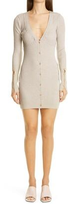 Jacquemus Lauris Long Sleeve Merino Wool Mini Sweater Dress