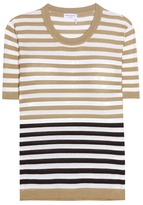 Sonia Rykiel Embellished Striped Silk And Cotton T-shirt
