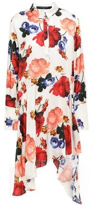 Mother of Pearl Asymmetric Floral-print Satin Dress