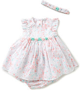 Little Me Baby Girls 3-9 Months Shimmer-Floral-Printed Dress and Headband Set