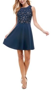 City Studios Juniors' Lace-Top Fit & Flare Dress