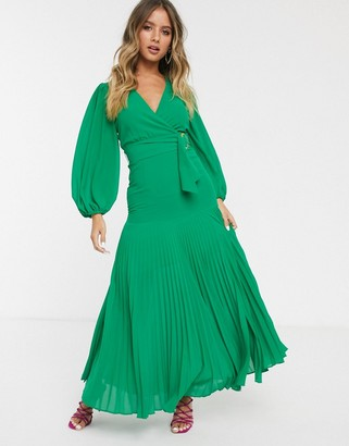 Bardot belted maxi dress with thigh split in vivid green