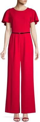 Calvin Klein Flounce-Sleeve Jumpsuit