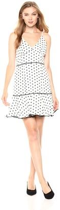 Keepsake Women's Deep Love Dot Sleeveless V Neck Fit & Flare Dress