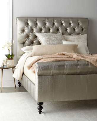 Old Hickory Tannery Jesse Faux-Leather Tufted Queen Bed