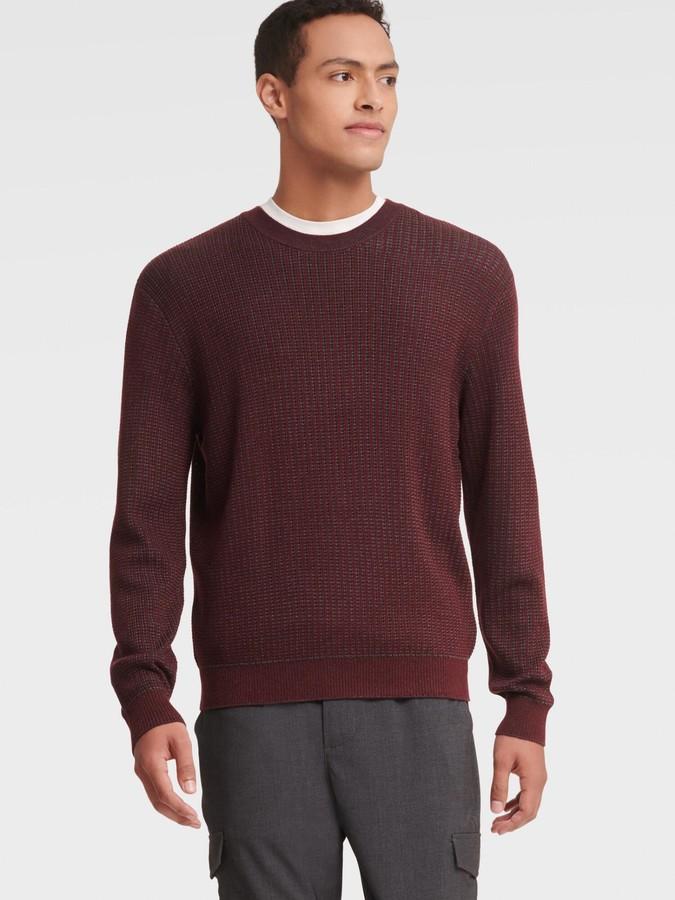DKNY Women's Merino Dual Color Stitch Sweater - Wine - Size L
