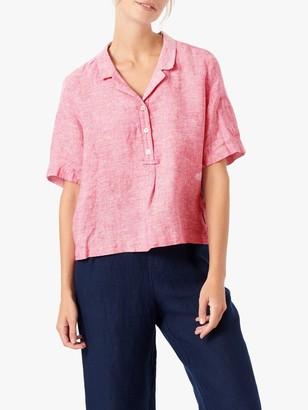 Brora Fine Stripe Linen Short Sleeve Shirt