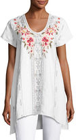 Johnny Was Christine Embroidered Linen Drape Top, Plus Size