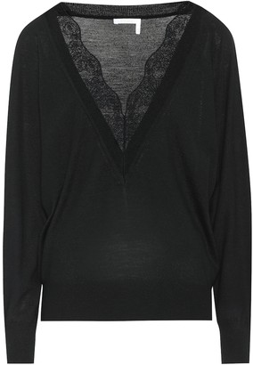 Chloé Lace-trimmed wool and silk sweater