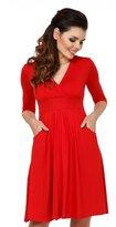 Zeta Ville Fashion Zeta Ville - Womens Empire Waist Pleated A-line Dress Pockets 3/4 Sleeve - 783z (