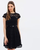 Dorothy Perkins Belted Lace Fit & Flare Dress