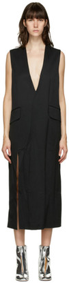 MM6 MAISON MARGIELA Black Wrinkled Deep V-Neck Dress