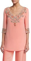 Marchesa 3/4-Sleeve V-Neck Embellished Tunic, Coral