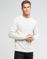 Pull&bear Cable Knit Jumper In Cream
