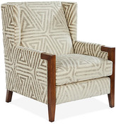 Michael Thomas Collection Everly Club Chair - Taupe/Ivory - frame, walnut; upholstery, taupe/ivory