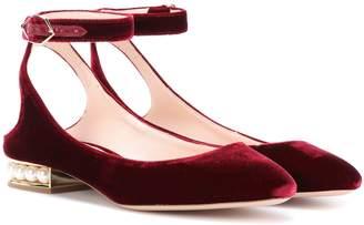 Nicholas Kirkwood Exclusive to mytheresa.com a Lola Pearl velvet ballerinas