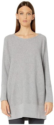 Eileen Fisher Washable Wool Rib Bateau Neck Tunic (Pewter) Women's Sweater