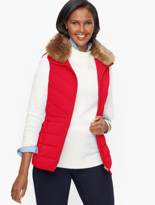 Talbots Faux Fur Collar Down Puffer Vest - Solid