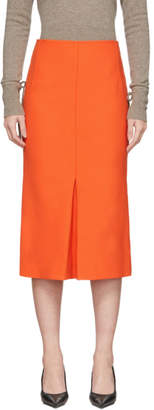 Victoria Beckham Orange Box-Pleat Midi Skirt