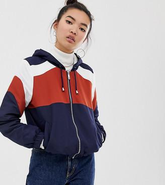 New Look fleece lined zip up jacket in rust and navy-Orange