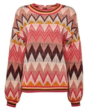 Dorothy Perkins Womens Vila Pink Knit Jumper With Wave Pattern, Pink