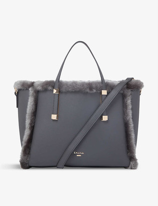 Dune Duffie faux-fur and leather tote bag