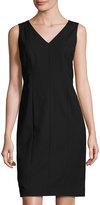 Lafayette 148 New York Geneva V-Neck Sleeveless Sheath Dress, Black