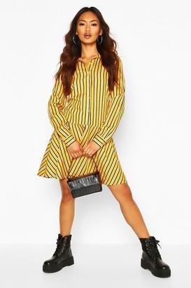 boohoo Stripe Button Through Frill Hem Shirt Dress