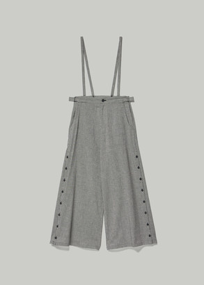 Yohji Yamamoto Women's Houndstooth Side Button Wide Leg Pant With Suspenders in Black Size 1