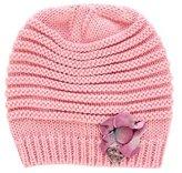 Miss Blumarine Girls' Floral-Accented Rib Knit Beanie
