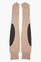Maison Martin Margiela Brown wool and leather Elbow Patch Gloves