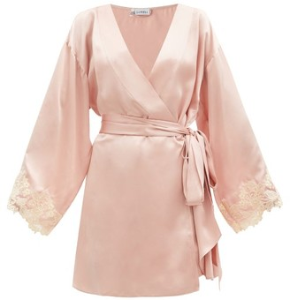 La Perla Frastaglio-trim Silk-satin Robe - Light Pink