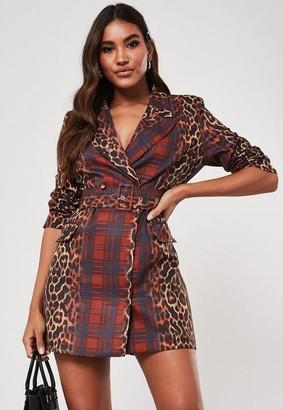 Missguided Red Leopard Plaid Print Blazer Dress