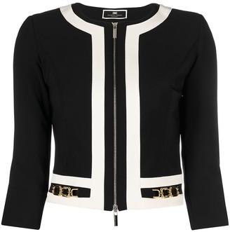 Elisabetta Franchi Cropped Two-Tone Jacket