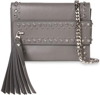 Elena Ghisellini Nina Crystal-embellished Leather Clutch